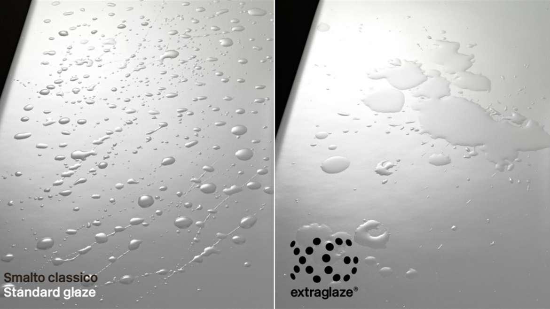 Lo speciale smalto Extraglaze® di GSI Ceramica rende le superfici ceramiche dei sanitari più levigate, brillanti e facilmente pulibili.